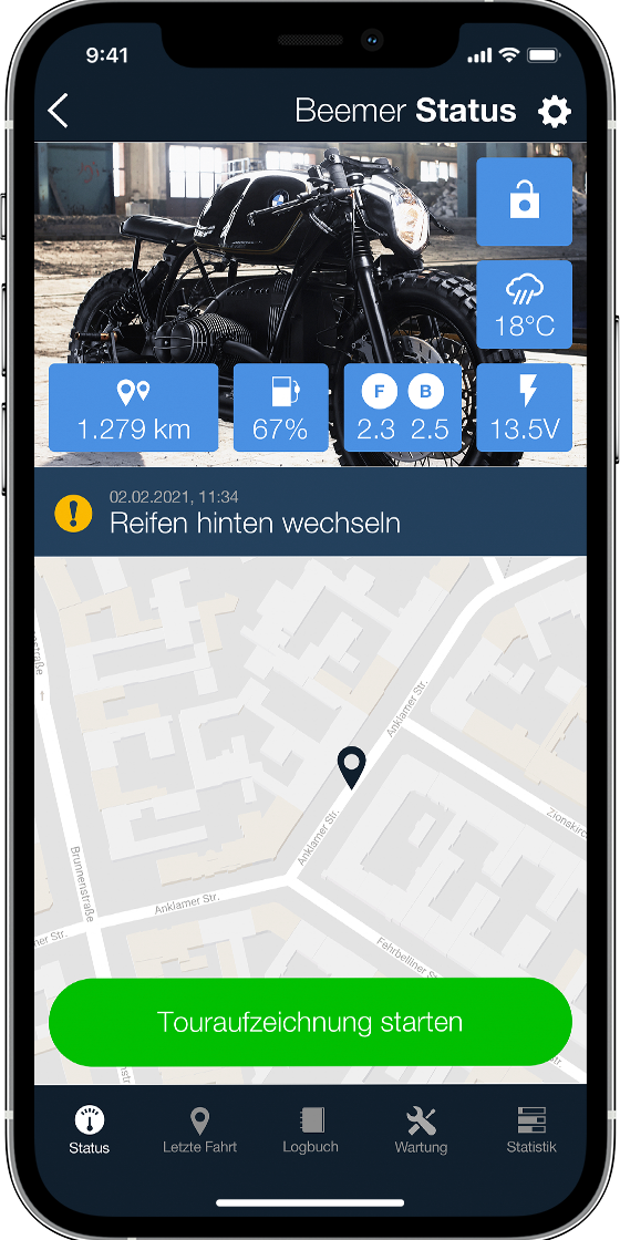 m.ride App Screenshot: Meine Garage